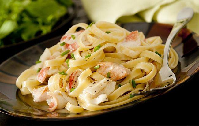 Cremoso-camarão-Pasta