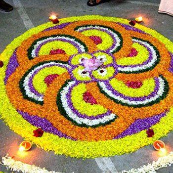 25 desenhos mais colorido Rangoli com flores Photo