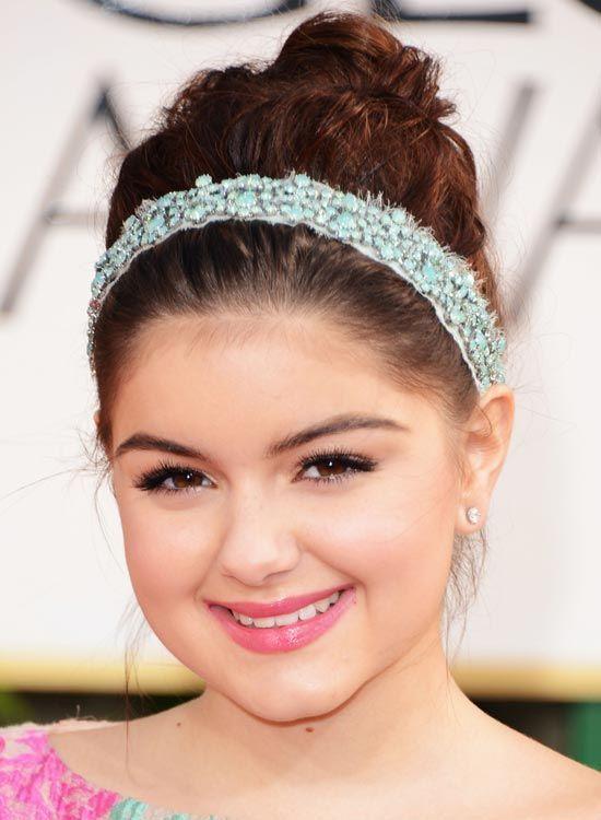 -Curly-alta Bun-com-Pretty-Lace-Headband