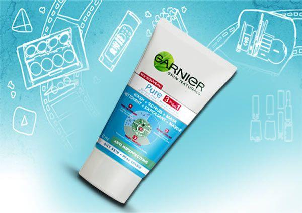 Garnier Pure 3-In-1 Face Wash-Scrub-Mask