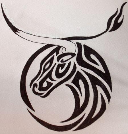 Cabeça de touro tatuagem esboço
