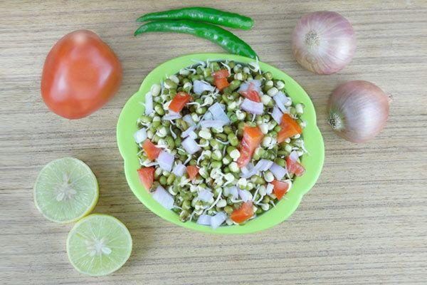grama verde e salada de tomate
