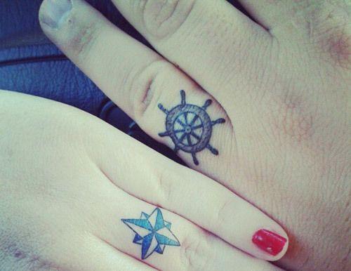 Faixas de casamento do design náutico tatuagem