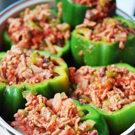 baixas calorias recheados pimentões