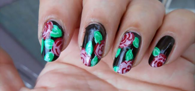 Vintage Roses Nail Art Tutorial Photo