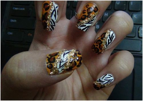 pontos de leopardo com unjoined para unhas